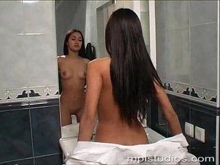 Kamilla taking a shower