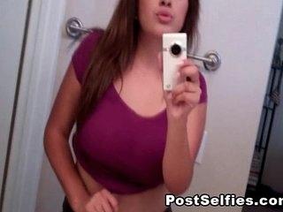 Cute Brunette Busty Teen Naked In Mirror Selfie