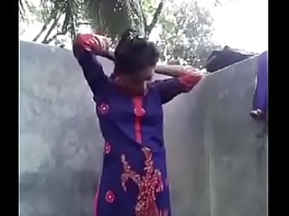 Indian girl bathing in her house with bf....